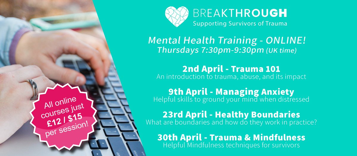 Online Mental Health Training! We're running 2hr versions of our most popular courses as online seminars! Everyone welcome, whether youre a survivor, a supporter, or self-isolating and want to learn new skills. traumabreakthrough.org/product-catego… #boundaries #anxiety #mindfulness #trauma