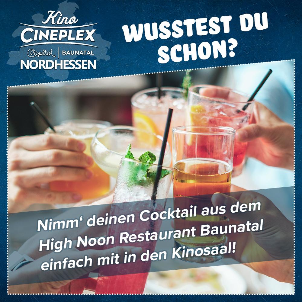 WUSSTEST DU SCHON #KinoNordhessen #Cineplex + Gewinnspiel!   Verbinde Cocktails einfach mit Kino!   Im High Noon Restaurant kannst du dir deinen frisch zubereiteten Cocktail holen und ihn im Kinosaal genießen. Cheers!pic.twitter.com/P065Sq1oyq