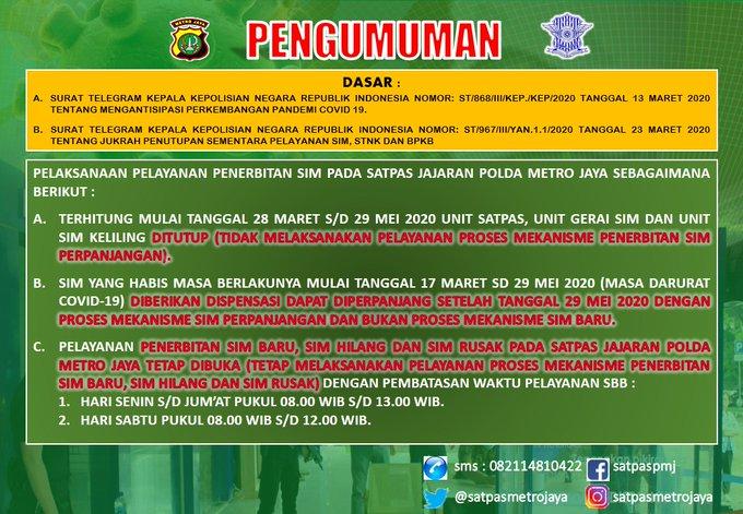 22.30 Dispensasi perpanjangan SIM yg habis masa berlaku dan pembatasan jam layanan penerbitan SIM baru, hilang dan rusak di Satpas jajaran Polda Metro Jaya.
