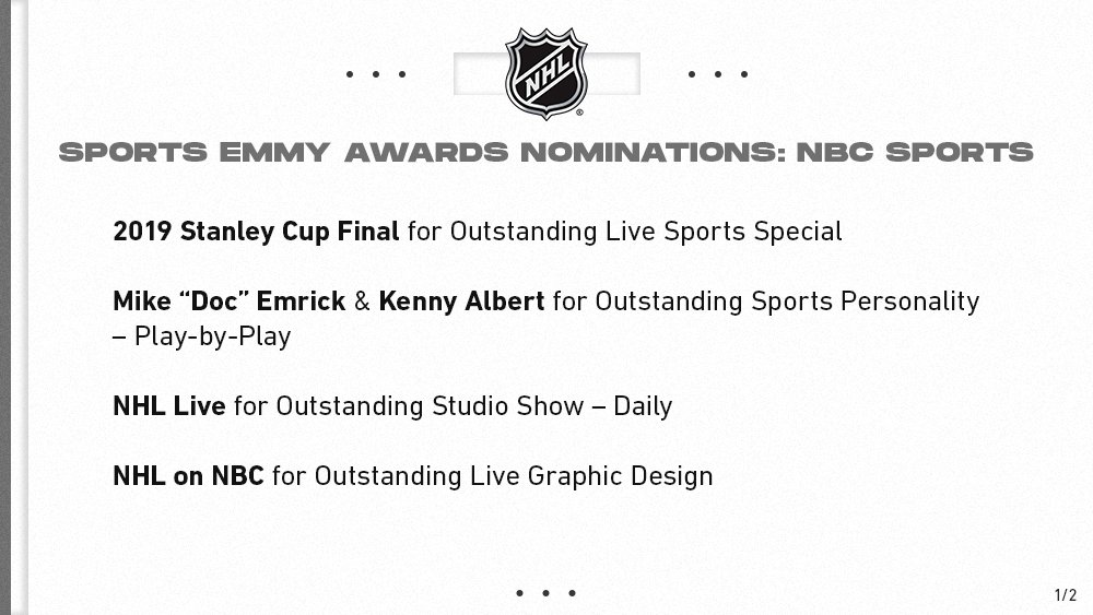 Congrats to @NBCSports for its @sportsemmys nominations. bit.ly/3dxTueJ