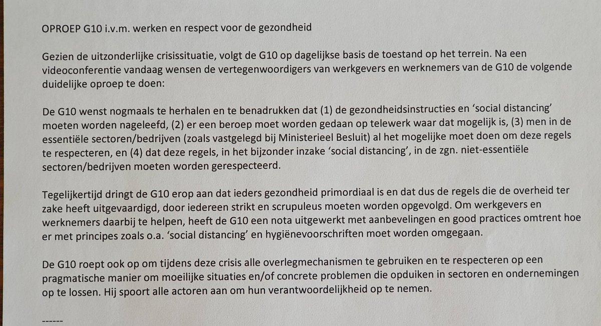 OPROEP #G10:  1⃣ Ga werken waar het kan, maar in veilige omstandigheden 2⃣ Respecteer gezondheidsvoorschriften van Nationale Veiligheidsraad  Lees ook enkele aanbevelingen over 'social distancing' in de praktijk 👉