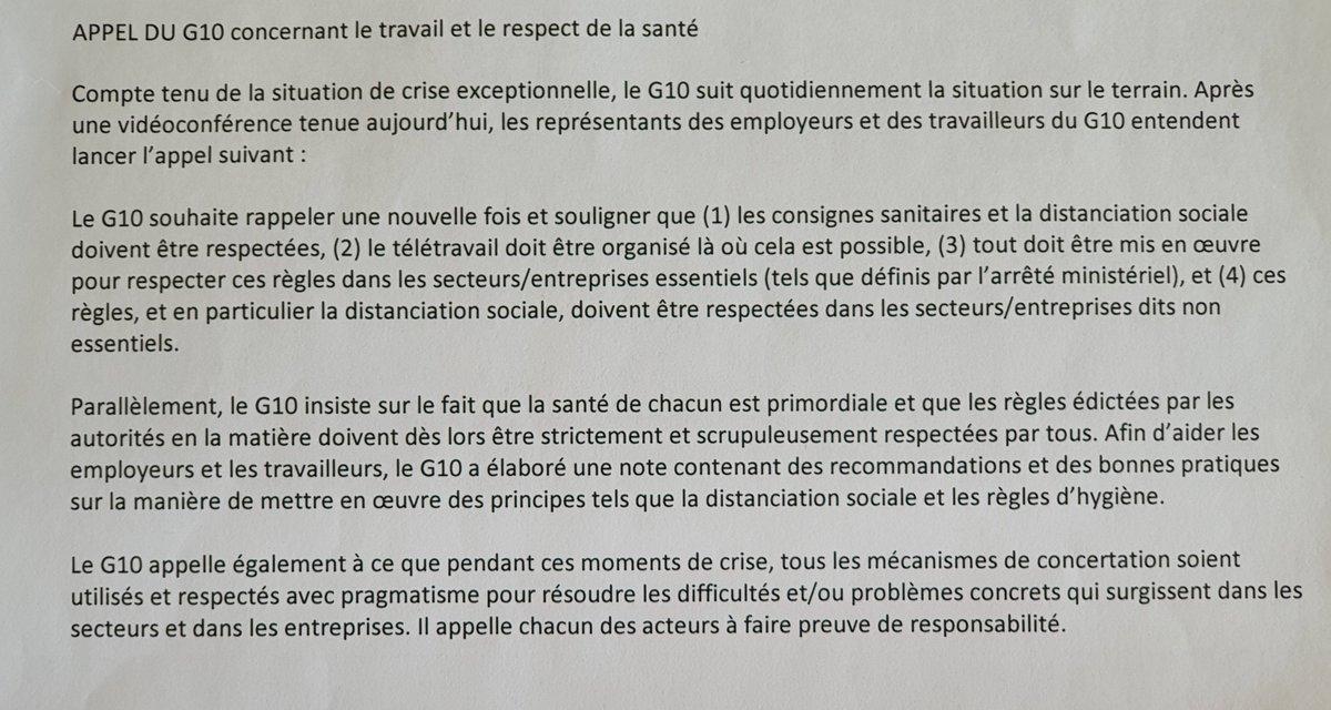 APPEL #G10:  1⃣Travaillez si cela est possible, mais dans des conditions de sécurité 2⃣Respectez les mesures sanitaires du Conseil National de Sécurité  Lisez ici quelques recommandations sur la «distanciation sociale» dans la pratique 👉