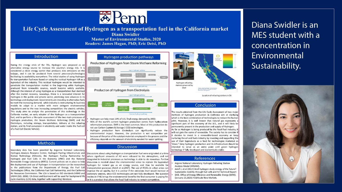 Continuing with our #GraduateResearchSeries: MES student Diana Swidler examined the life cycle assessment of hydrogen as a transportation fuel in the California market. #Penn #PennLPS #PennEESpic.twitter.com/QpOoARr6wo