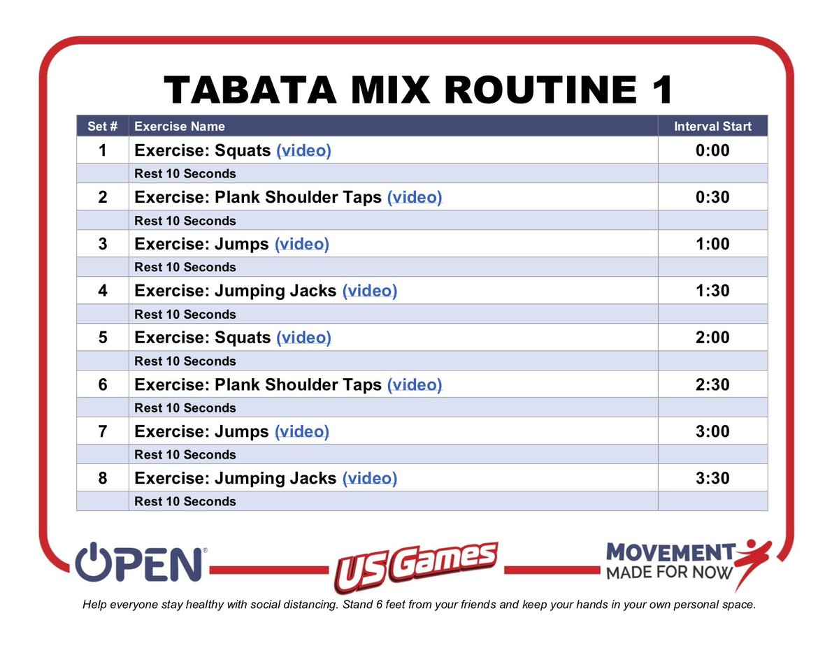 We love a good tabata at Oakridge! This one is from <a target='_blank' href='http://twitter.com/OPENPhysEd'>@OPENPhysEd</a>. Feel free to create your own and share below (or on <a target='_blank' href='http://twitter.com/Seesaw'>@Seesaw</a>)! <a target='_blank' href='https://t.co/oIv2VAG38u'>https://t.co/oIv2VAG38u</a>