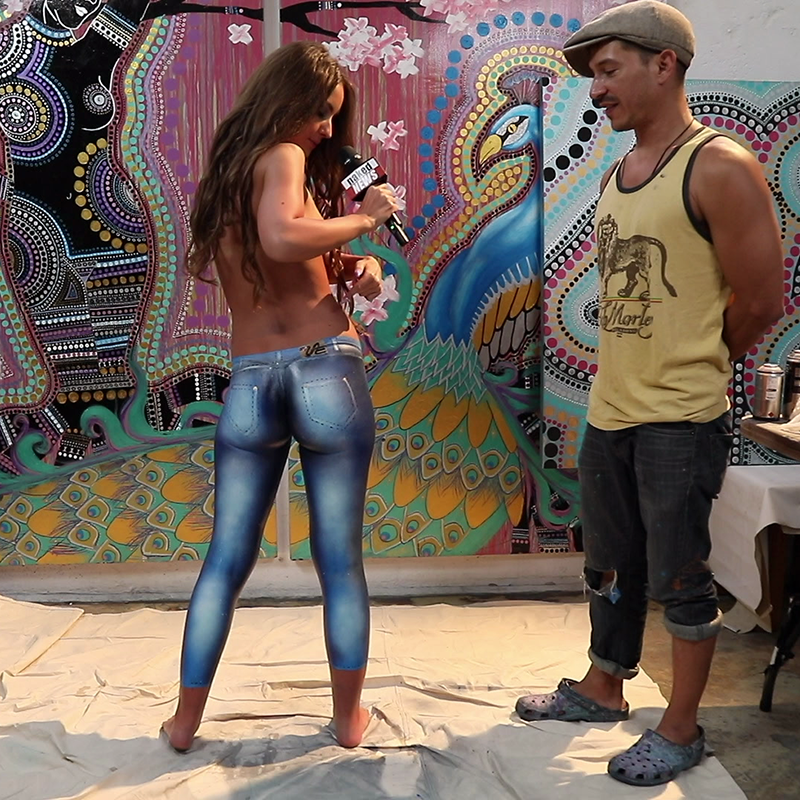 Naked Girl With Nice Ass Wearing Just A Thong And Body Painted Jeans Walks Down Busy Street Youtu
