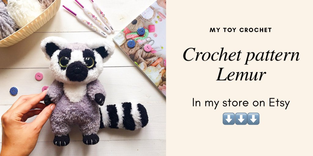 Crochet pattern Ring-tailed Lemur amigurumi instant | Etsy | 512x1024