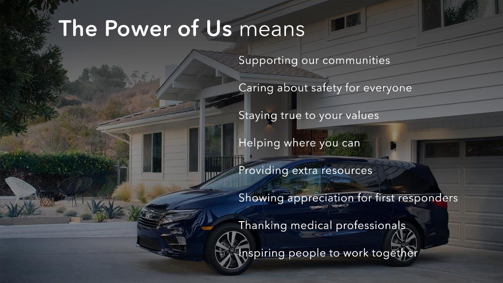 Our thoughts are with all of you, the members of the communities where we live and work. We will continue to support our Honda family in every way we can. That's the power of us. Thank you for being a part of the Honda community. Stay safe. #HondaLove