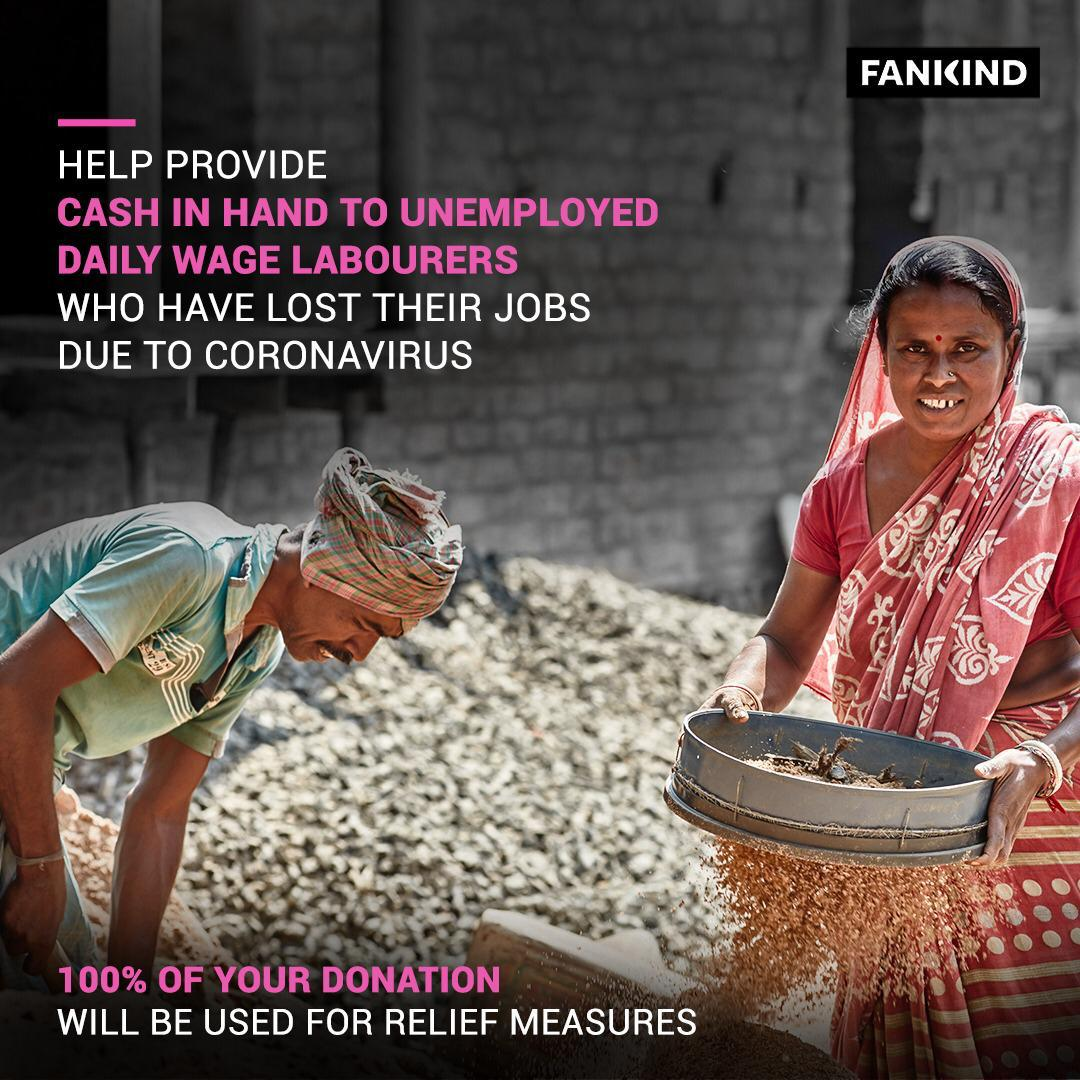 Help migrant workers & casual labour families who have lost their income due to coronavirus lockdown pay rent & feed their families. Donate now -   100% of the donation goes to the unemployed labourers. @FankindOfficial @GiveIndia #IndiaFightsCorona