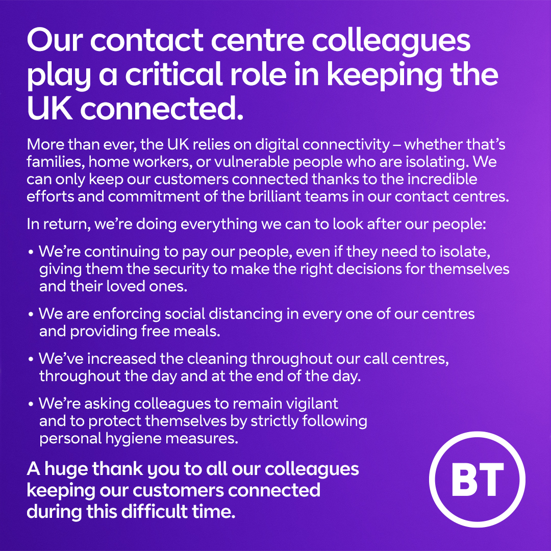 We're doing all we can @bt_uk, @EE and @Plusnethelp to keep serving our customers and keep our people safe at this difficult time.  This is why we're asking our people to come into our contact centres, if they're healthy and able – so our customers can get the help they need. 1/5 https://t.co/xcr8O775UV