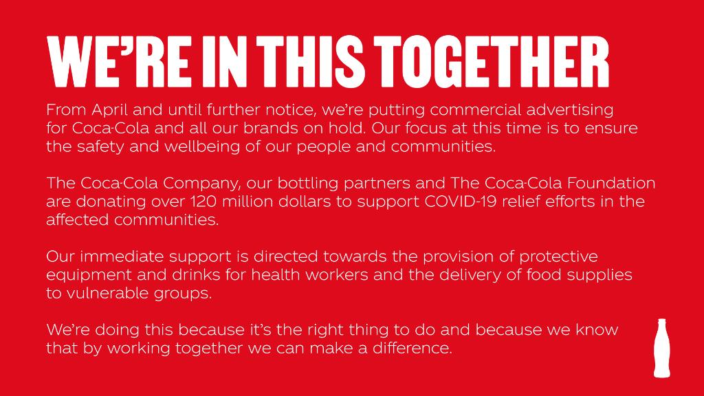 In these challenging times, our focus is to ensure the safety and wellbeing of our people and our communities. Along with our bottling partners and The Coca-Cola Foundation, we are contributing over $120m globally to support COVID-19 relief efforts in the affected communities. https://t.co/vX0zWOA173