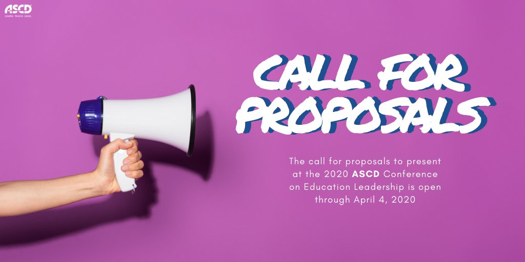 We are looking to hear from you! Our call for proposals for our Conference on Education Leadership is open until April 4, 2020:  #callforproposals #educhat #ASCDCEL