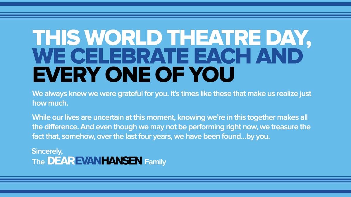 We have been found...by you. #WorldTheatreDay #DearEvanHansen #DEHTour #DEHLondon