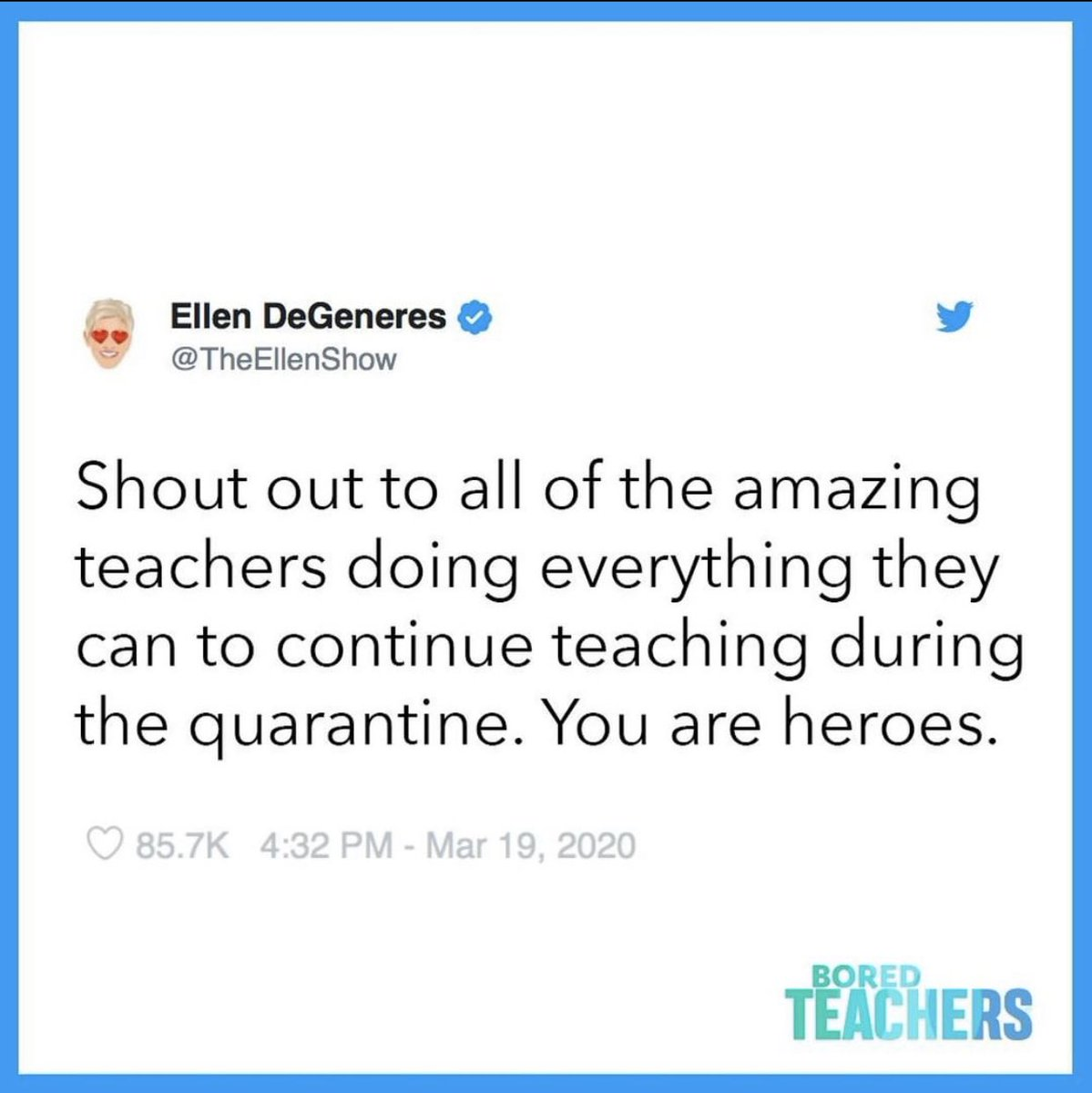 <a target='_blank' href='http://twitter.com/TheEllenShow'>@TheEllenShow</a> gave a shoutout to all of the teachers who are delivering fabulous instruction remotely, despite the quarantine. Keep up the excellent work! 🎉 <a target='_blank' href='https://t.co/eEqEVyFNnF'>https://t.co/eEqEVyFNnF</a>