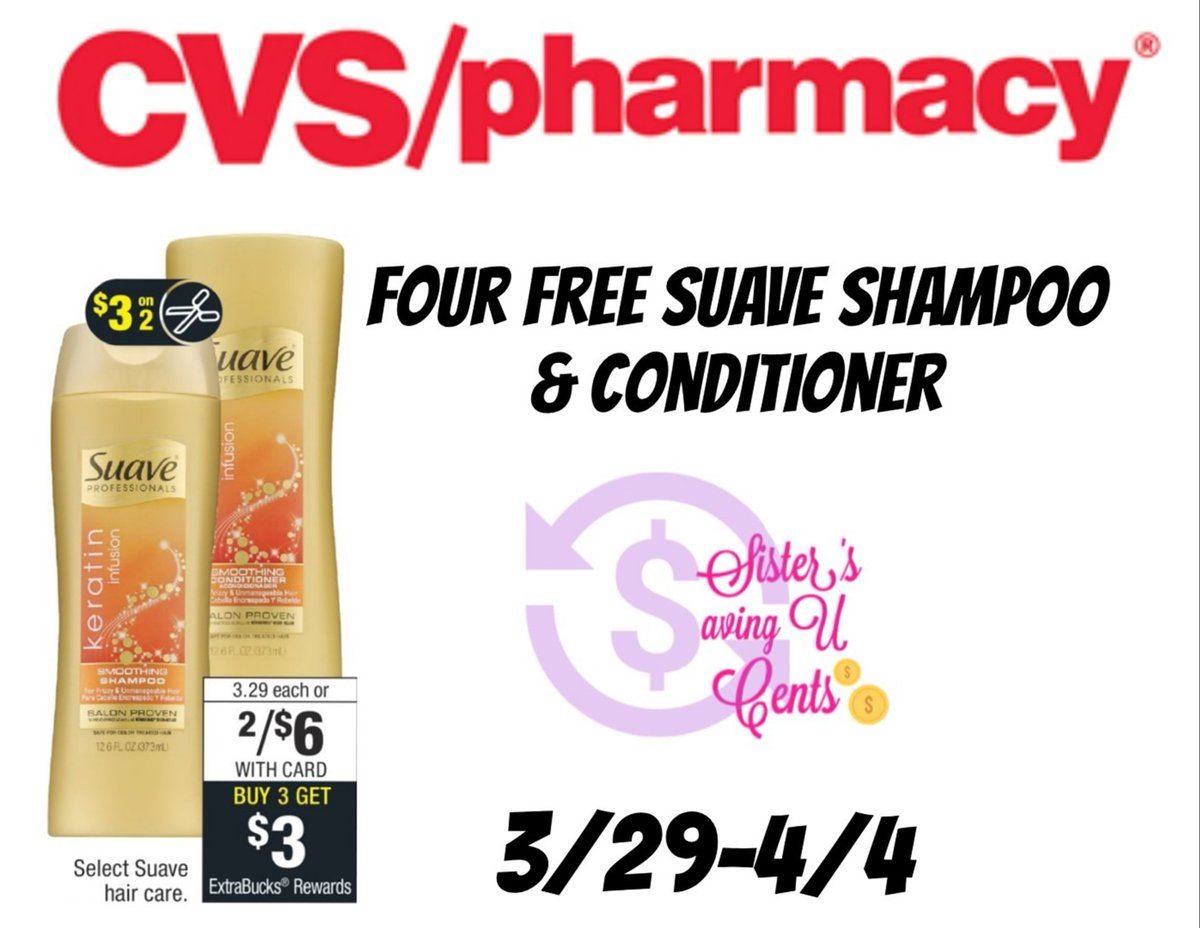 SistersSavingUCents : Four Free Suave Shampoos & Conditioners https://t.co/yOFtRY9fB0 #cvsdeals #cvsfreebies #cvscouponing https://t.co/z161nNPftX