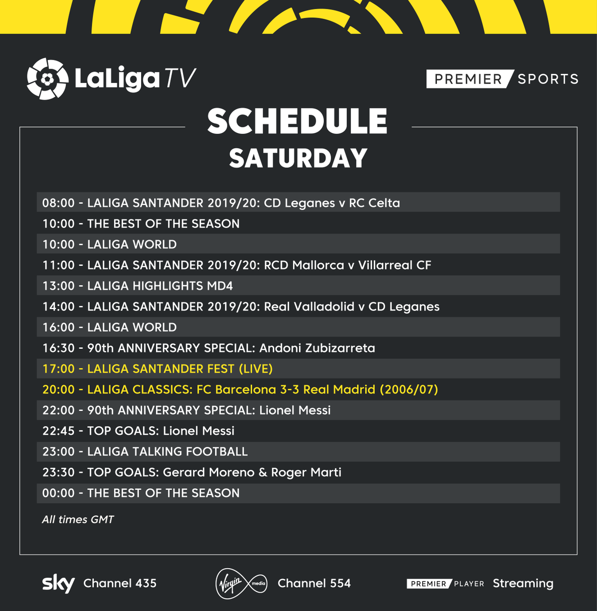 📅 𝗦𝗔𝗧𝗨𝗥𝗗𝗔𝗬 𝗦𝗖𝗛𝗘𝗗𝗨𝗟𝗘 📺 Watch #LaLigaSantanderFest LIVE at 5pm today on #LaLigaTV! 🏡 #StayAtHome