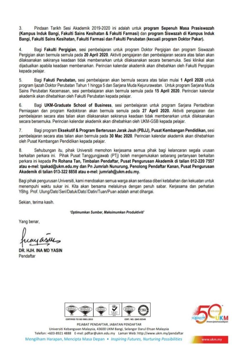 Ukm Malaysia On Twitter Pekeliling Jabatan Pendaftar Bil 13 2020 Mengenai Covid 19 Pindaan Tarikh Sesi Akademik 2019 2020 Ukm Ukmcircular Ukminfo Akademiukm Ukm Ukmsharing Https T Co C9wlt4ht4i