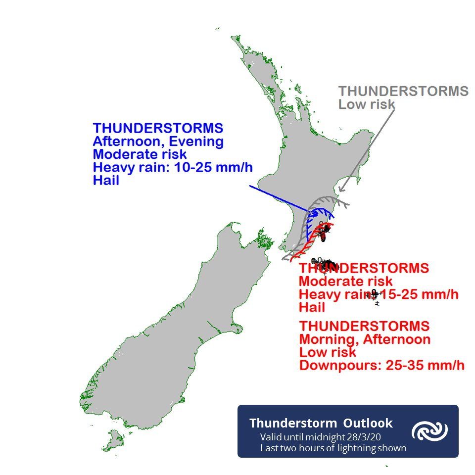 @Blackcapsfan3 @WairarapaNZ Further Thunderstorms are expected about Wairarapa and the Tararua District today, as shown on the current Outlook chart (with the last two hours of lightning strikes also shown). ^AG https://t.co/zZSG5tmUVb