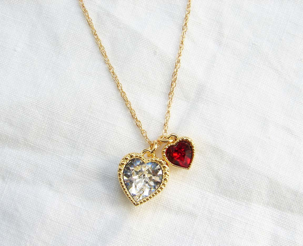July Birthday. Swarovski Twin Heart Necklace. Crystal Clear and Ruby Red Heart Charm. . Simple Modern Jewelry  #Jewelry #FreeShipping #HeartJewelry