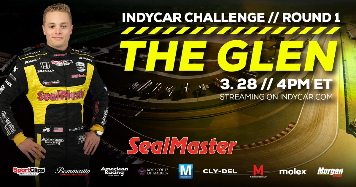 The inaugural @iracing  #INDYCARChallenge  kicks off tomorrow at @WGI ! Cheer on @santinoferrucci  tomorrow, 4PM ET. Streaming live on the @indycar  website and YouTube page. #INDYCAR