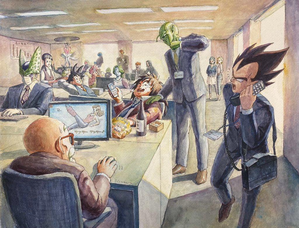 【悲報】ヤジロベー、会社をクビになる。画材:透明水彩、耐水ペンサイズ:45cm×35cm用紙:ホワイトワトソン#イラスト #ドラゴンボール #透明水彩