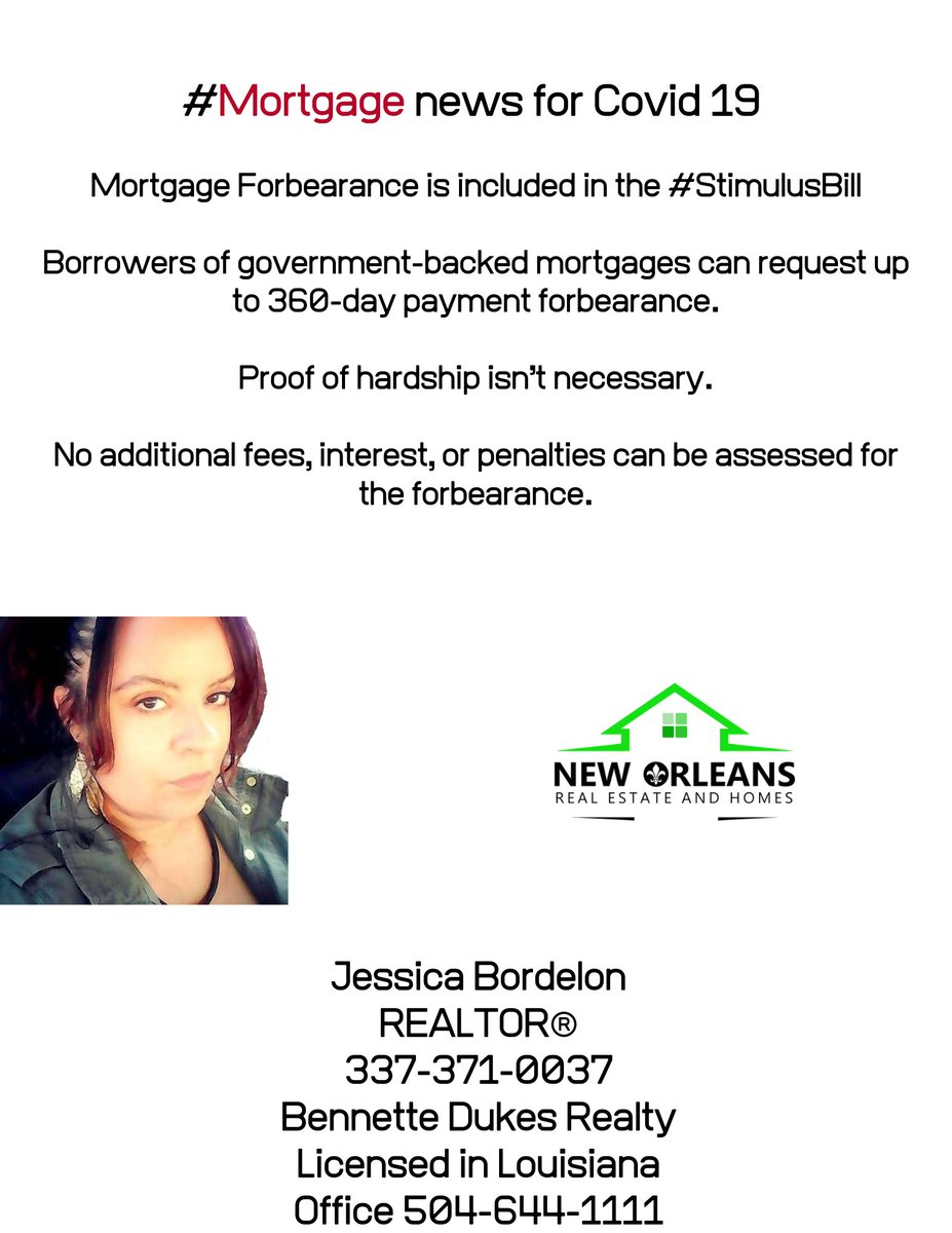 Here's info for any one with a #Mortgage who is worried during the #Covid19 response and #Quarantine . #WordOfaRebel #RealEstate #NewOrleans #Lafayette #Louisiana #NewOrleansRealEstate #LafayetteRealEstate #FinancialGrowth #GenerationalWealthpic.twitter.com/vOUyQBbIQK