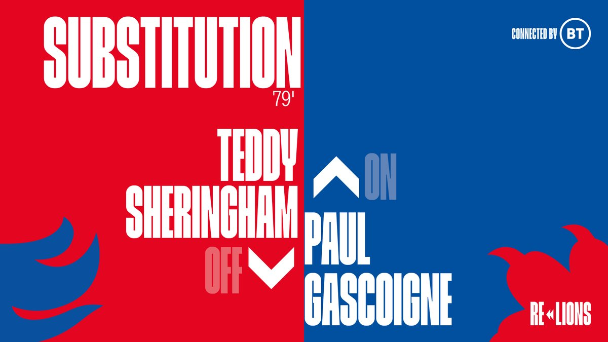 A final change for the #ThreeLions, with Paul Gascoigne introduced in place of Teddy Sheringham for the final ten minutes.