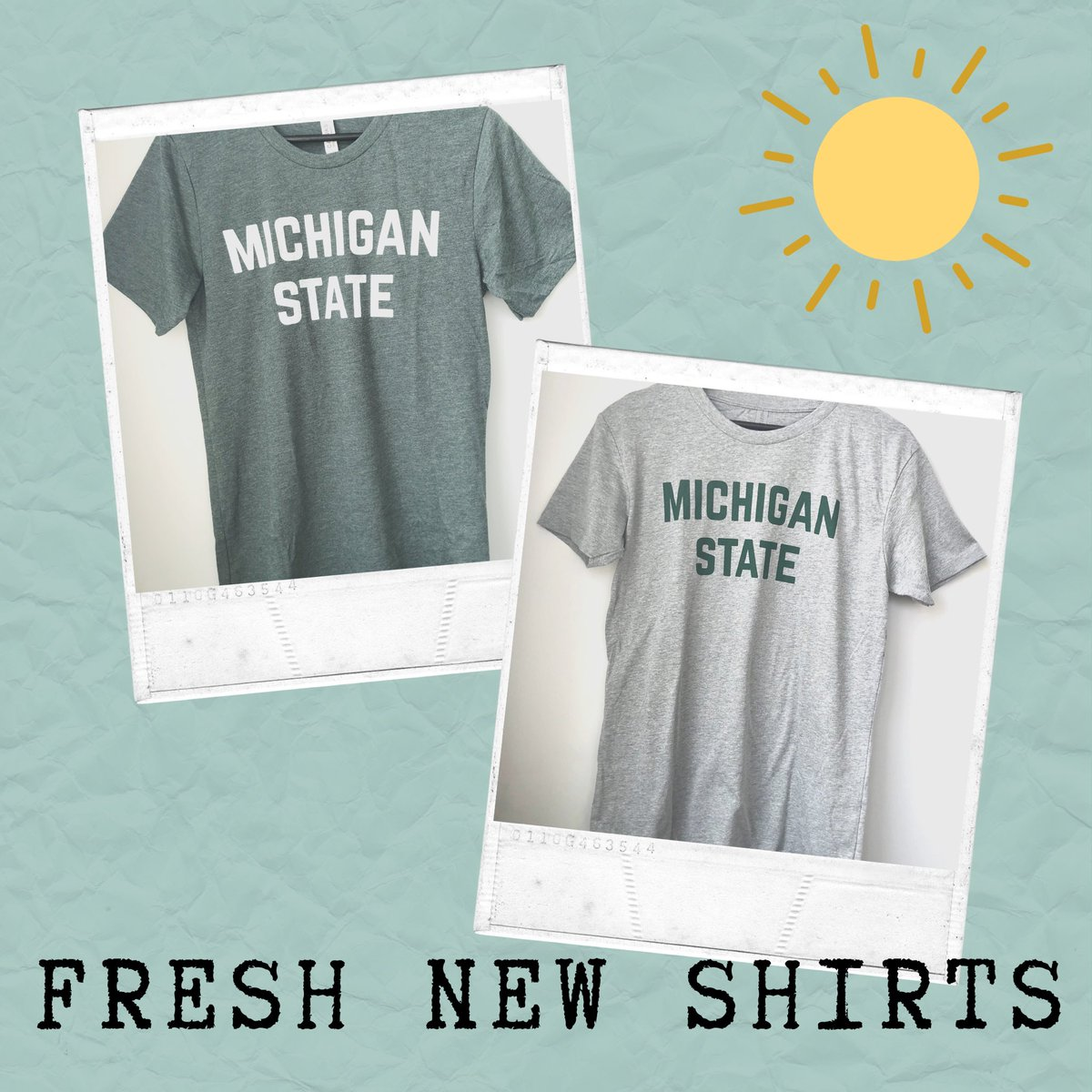 """The """"Classic"""" MSU shirt but on our ULTRA SOFT material. How many of you wore something like this at MSU? #memories #gogreen pic.twitter.com/MF67JKGfWA"""