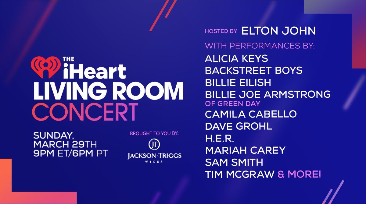 The #iHeartLivingRoomConcert hosted by @eltonofficial, ft @BillieEilish, @camila_cabello + more airs SUNDAY @ 9e on @Much! Brought to you by @Jackson_Triggs  Details + how to support the Canadian Red Cross COVID-19 response: https://t.co/pYgLEHg5E4 https://t.co/gCyJu7bFsQ