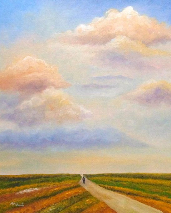 """This is my painting """"The Path Defined"""". You can check it out here: https://fineartamerica.com/featured/the-path-defined-angeles-m-pomata.html… #art #arte #artlovers #kunst #искусство #艺术 #アート #oilpainting #contemporaryart #ArtistOnTwitter #landscape #clouds #path #skyscape #stripes #repostpic.twitter.com/5TfqC9BvqB"""