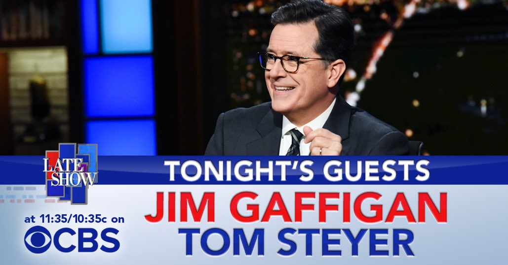 TONIGHT: @JimGaffigan is here to talk @TroopZeroMovie and Stephen chats with @TomSteyer. #LSSC