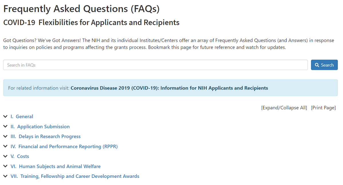 Browse NIH grants #COVID19 FAQs by topic, such as common questions on delays in research progress, reporting, costs, training awards, and more! 📝 https://t.co/4LkEWpib9C https://t.co/bXuNjMmENK