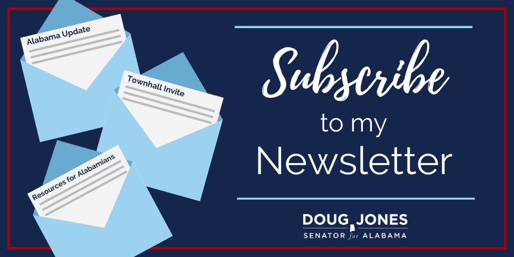 I know this has been a difficult time for folks and want to make sure you have access to resources and the most up to date info on COVID-19—delivered right to your inbox. Visit jones.senate.gov/contact/newsle… to subscribe today!