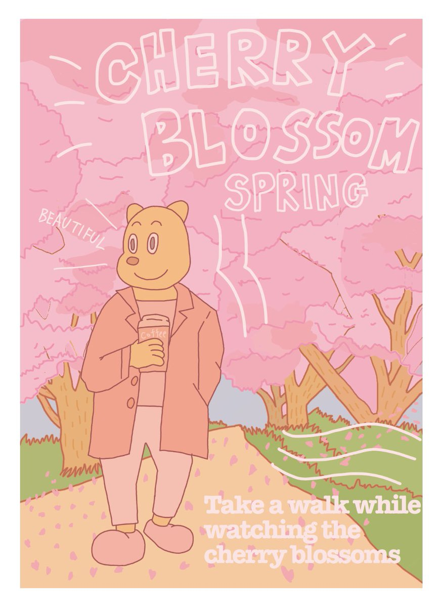 CHERRY BLOSSOM #桜 #お花見 #春 #イラスト #絵 #犬 #dog #ピンク #コーヒー #coffee #散歩 #ファッション pic.twitter.com/KrpoKlJ0ta