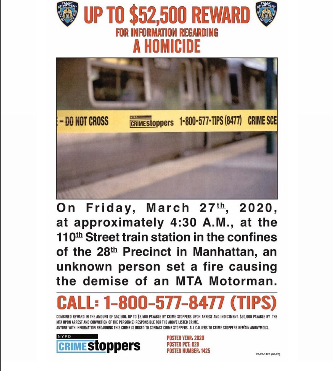 NYPD Crime Stoppers (@NYPDTips) on Twitter photo 28/03/2020 00:55:08