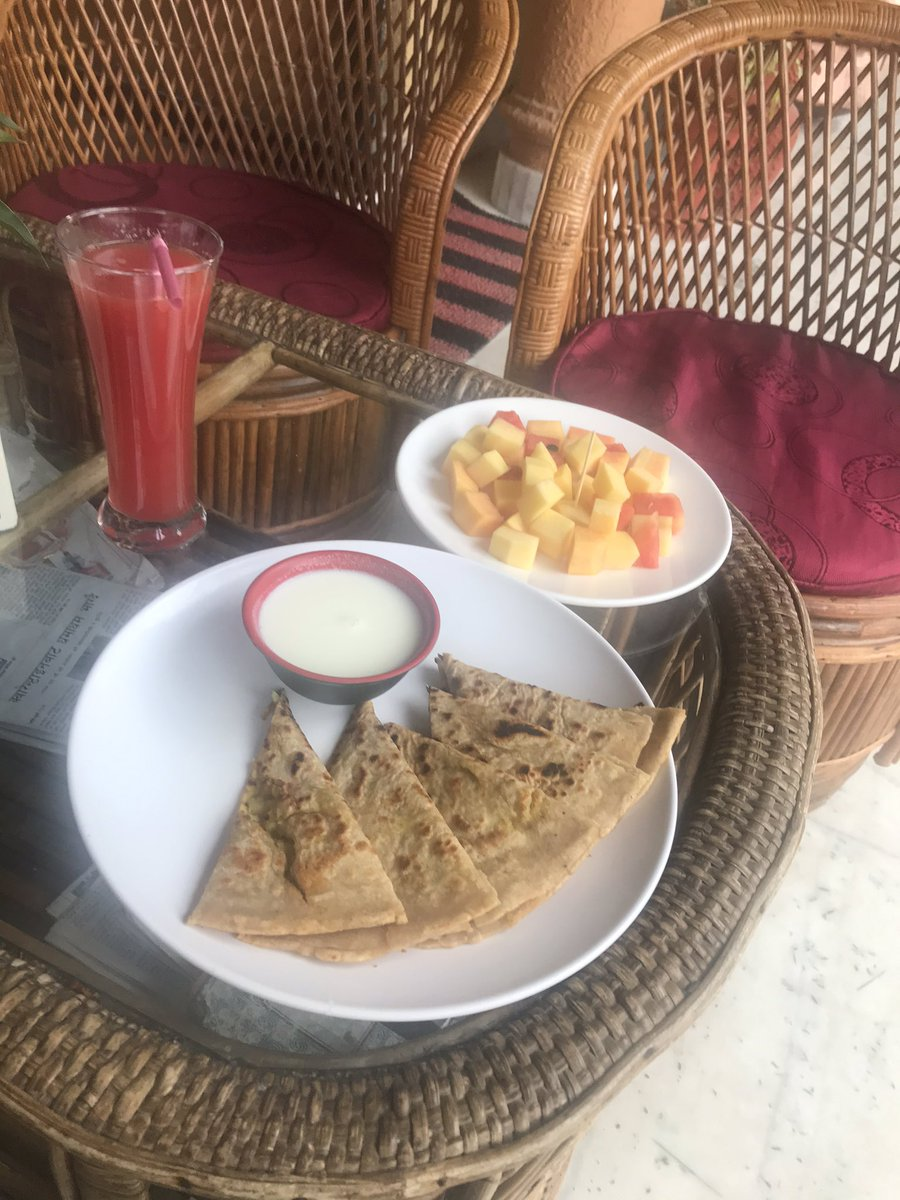 Meanwhile Indian breakfast arrives. Feeling special & cared for in Nepal every time, especially now with so many Nepali friends and colleagues seeking to keep me safe. Thanks to everyone, not only had a wonderful 2 week trek but now also special care on my return. #visitnepal2020 <br>http://pic.twitter.com/YyUt0wktLC