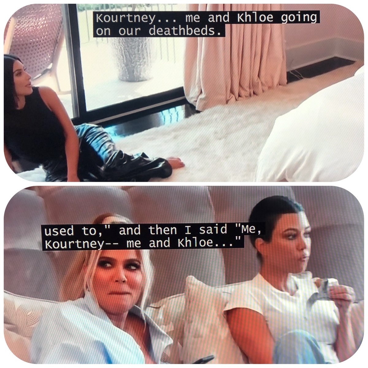 """Kim says things on purpose just to get under Kourtney's skin. In the fight scene Kim says """"Kourtney... Me and Khloe"""" when talking about who is willing to work on their death beds.  10 seconds later she literally makes the same """"mistake"""" just to bother Kourtney.. #KUWTK"""