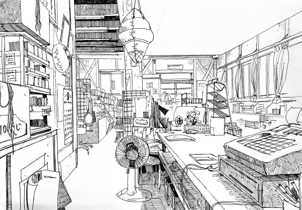 レジ暇すぎて店の中スケッチしたやつ。ペン一発描き