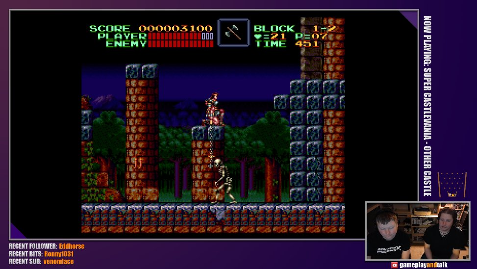Watching @MichaelMackert play some tough SNES ROM hacks is super fun. This is Castlevania IV: Other Castle. Just before he tried Mega Man X: Hard Type. Good times! pic.twitter.com/rUKzr3RaUx