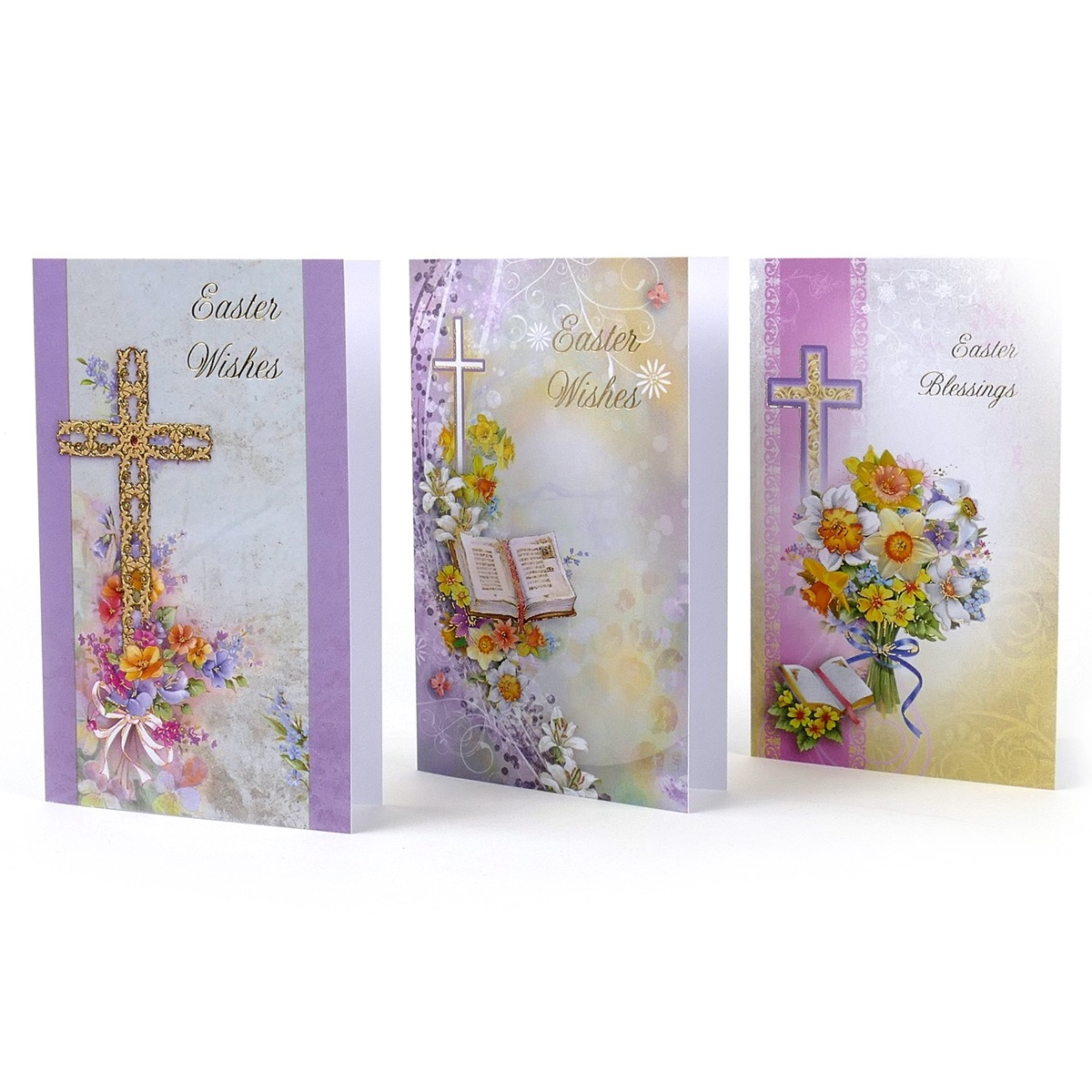 Pack of 12 Assorted Religious Design Easter Cards /& Envelopes.