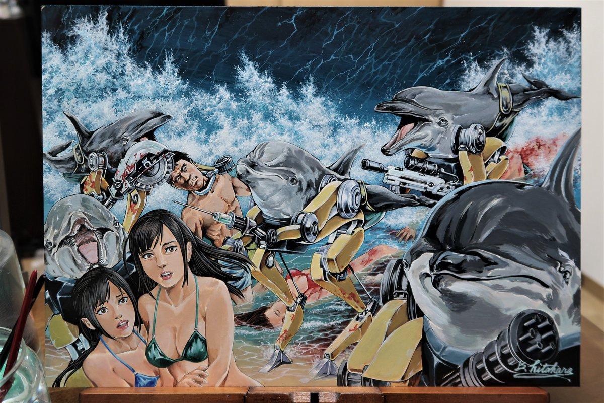 「イルカがまた攻めてきたぞっ」の絵を描きました!