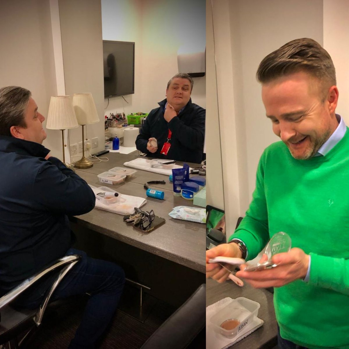 First time for everything in the @IrelandAMVMTV studio. @SimonDelaneyEsq and @AidanPowerful are on makeup duty. Looking good lads 😉 https://t.co/UWrflkZ8Re