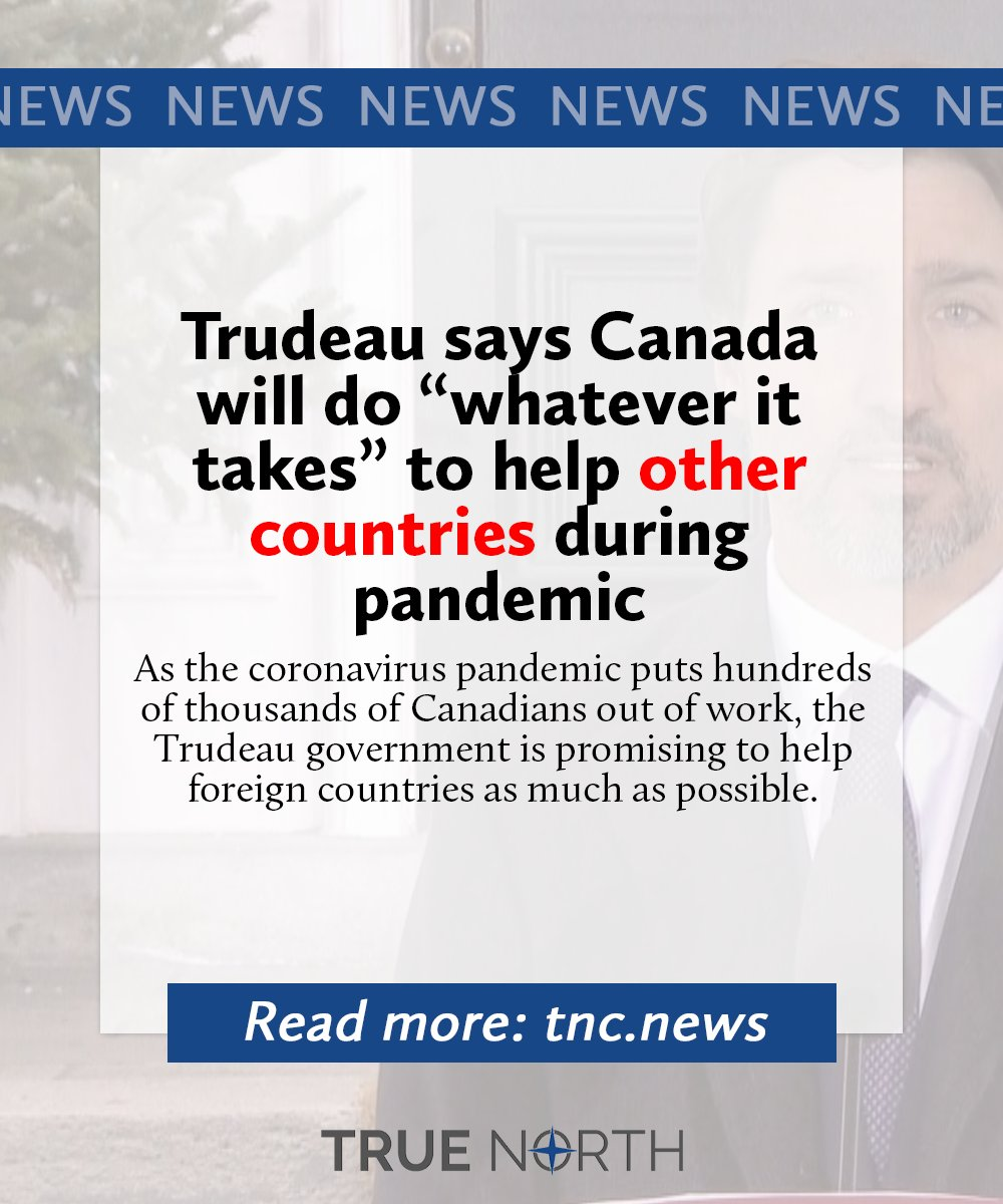 Last week the government announced $50 million in new foreign aid to help other countries during the global coronavirus pandemic.  Read more:  https:// tnc.news/2020/03/26/tru deau-says-canada-will-do-whatever-it-takes-to-help-other-countries-during-pandemic/   …  #cdnpoli <br>http://pic.twitter.com/Ff0D9faUxV