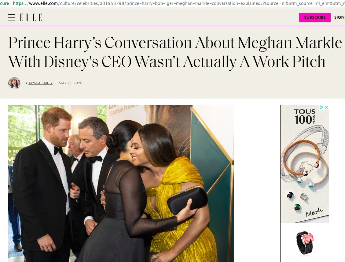 """Meghan's PR team working extra hard to clean her image. Now they're claiming Harry's conversation with Disney's CEO was just an """"inside joke"""" not a work pitch.  Just stop. I can only imagine how pissed Meghan was after watching that video#MeghanMarkle #HarryandMeghan pic.twitter.com/4RuzJ6UAF1"""