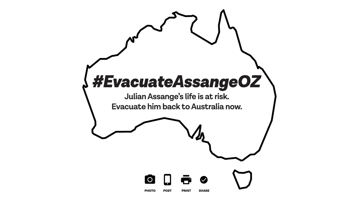 Julian Assange's life is at risk. Evacuate him back to Australia now.   Post and share this image online and offline and use the hashtag #EvacuateAssangeOZ.  Download pdf to print:  http:// somersetbean.com/evacuate-assan ge1.pdf  …  #SaveAssangeCovid19 #FreeAssange<br>http://pic.twitter.com/t1Mi3ZC43V