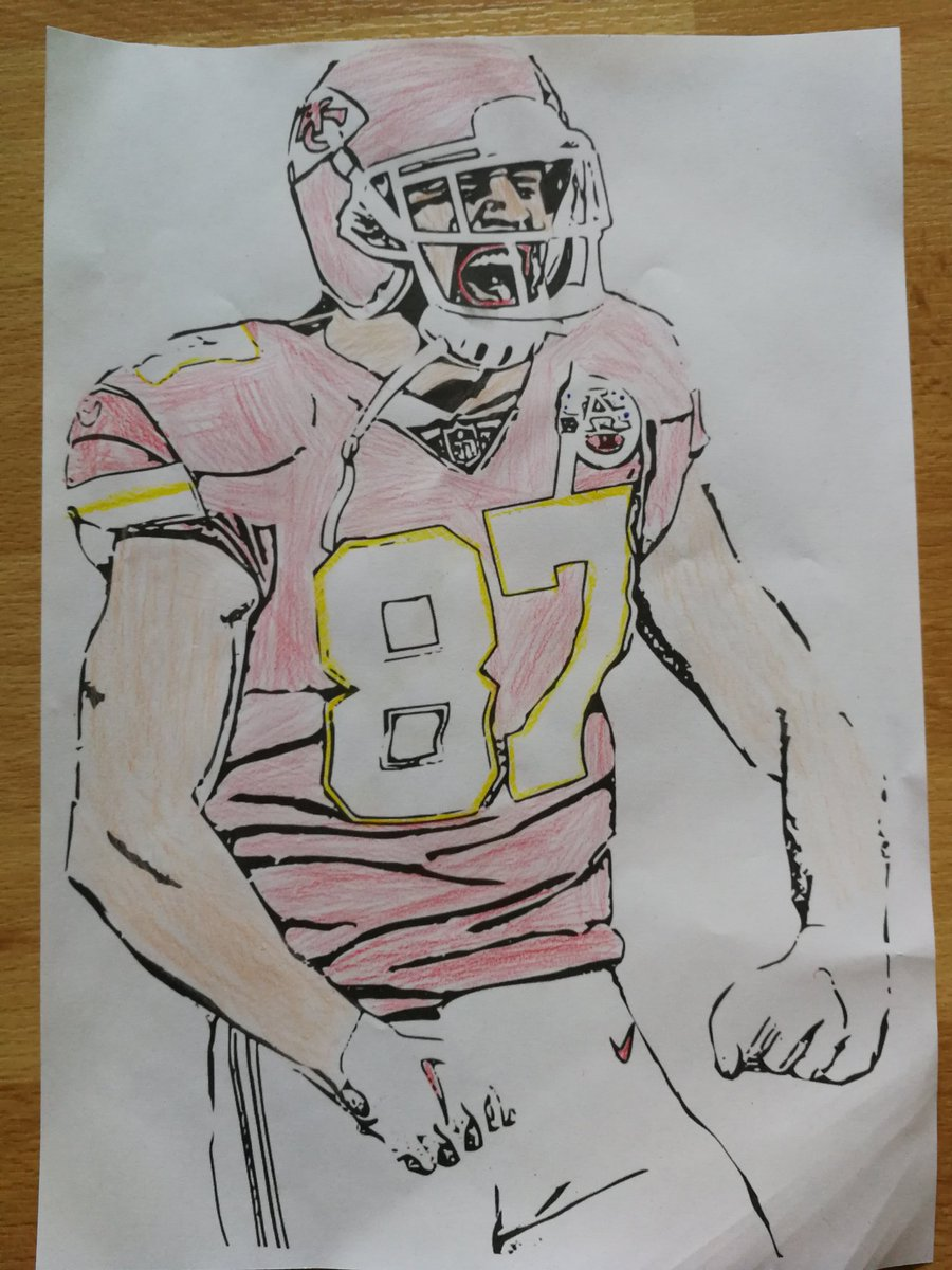 Thank you @Chiefs for this! My son is a great fan of @traviskelce he enjoyed coloring this print out. #StayAtHome #bleibdaheim #ChiefsKingdompic.twitter.com/uuE2Efuxcc