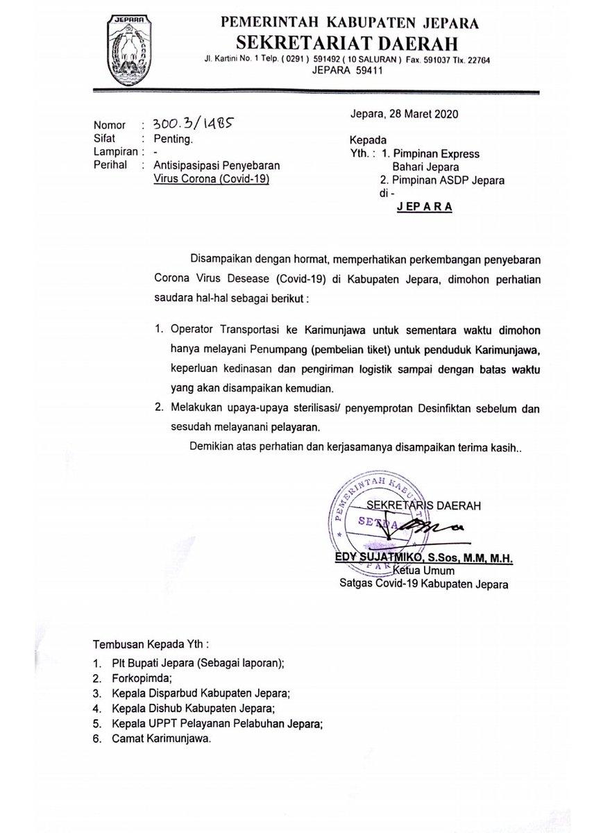 Antisipasi Virus corona ( covid -19 ) untuk Transportasi Ke Karimunjawa sementara hanya untuk penduduk karimunjawa dan pengiriman logistik. #DiRumahAjaYa