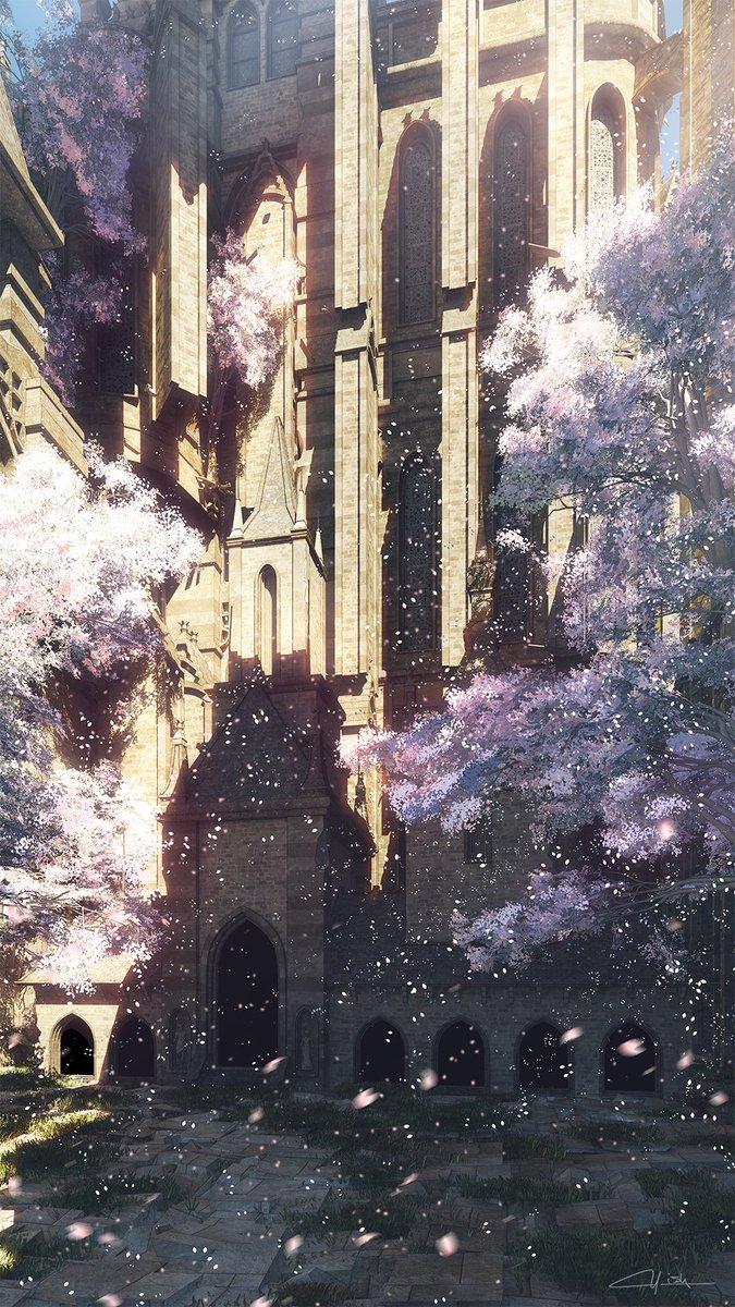 【新作】城の春※縦長の作品です。是非クリックして全部を見てもらえると。