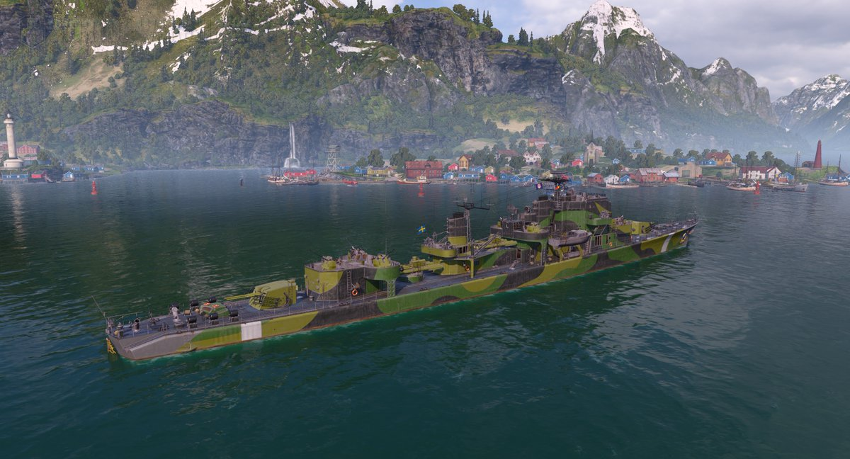 Mrmacavity On Twitter T9 Eu Swedish Destroyer Ostergotland With The Three Crowns Tre Kronor Permacamo In Worldofwarships Looks Pretty Good Love The Colors Notice The Golden Crest In The Rear View