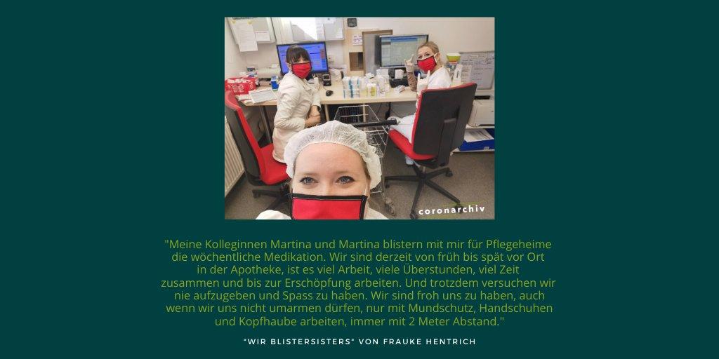 """Einreichung des Tages: """"Wir Blistersisters"""" von Frauke Hentrich.  Vielen Dank für den Einblick in den außergewöhnlichen Alltag! Habt ihr ähnliche oder ganze andere Erlebnisse gemacht? Teilt sie doch auf http://www.coronarchiv.de! pic.twitter.com/s5LlS6570y"""
