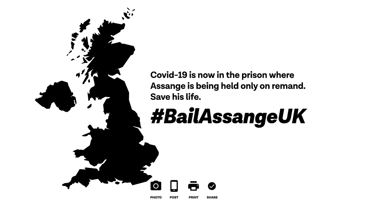 Covid-19 is now in the prison where Assange is being held only on remand. Save his life.  Post and share this image online and offline and use the hashtag #BailAssangeUK.  Download pdf to print:  http:// somersetbean.com/bail-assange2. pdf  …  #SaveAssangeCovid19 #FreeAssange<br>http://pic.twitter.com/zBSqttRoYy